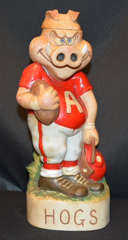 Vintage Arkansas Razorback Hogs Football 1972 McCormick Bourbon Decanter