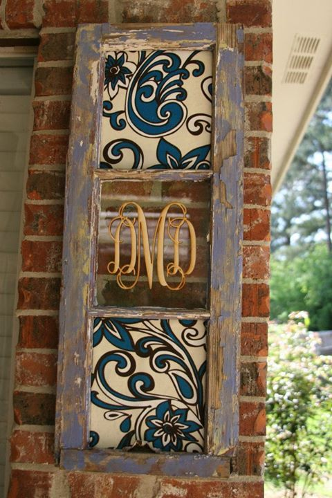 WOOD MONOGRAM INITIAL OVER OLD WINDOW - Google Search