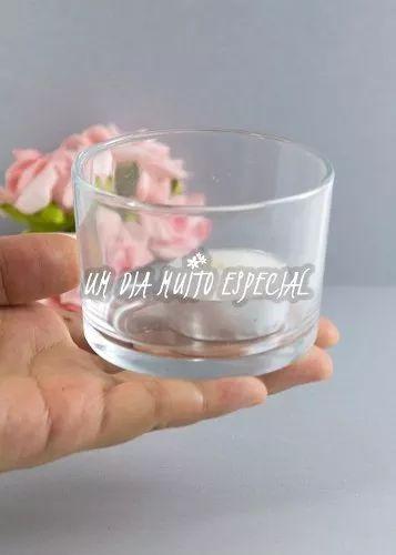 porta vela vidro redondo c/ vela rechaud castiçal - 20 unds