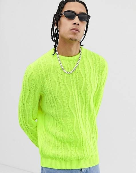 490edf5cd4fc8a ASOS DESIGN oversized cable knit sweater in neon green
