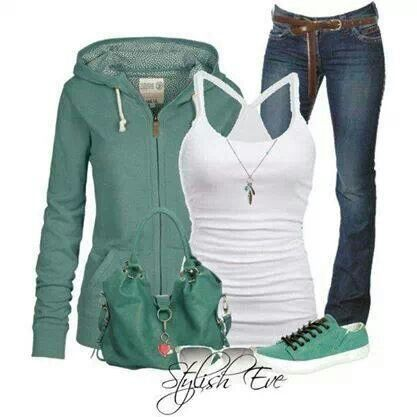 Green zip up hoodie and white rank with jeans