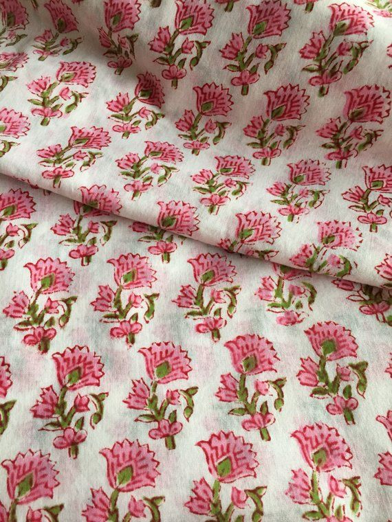 Cotton Paisley Print Indian Flower Hand Block Print Sewing Material Craft 3 Yard