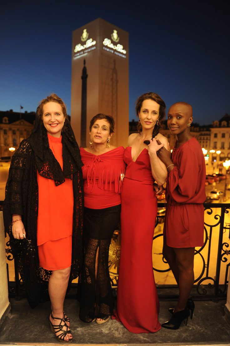 Lisa Lovatt-Smith, Leigh Bristow, Julie Brangstrup and Tiffany Persons during the Cash & Rocket charity event at the Valentino headquarters in Place Vendome, Paris.