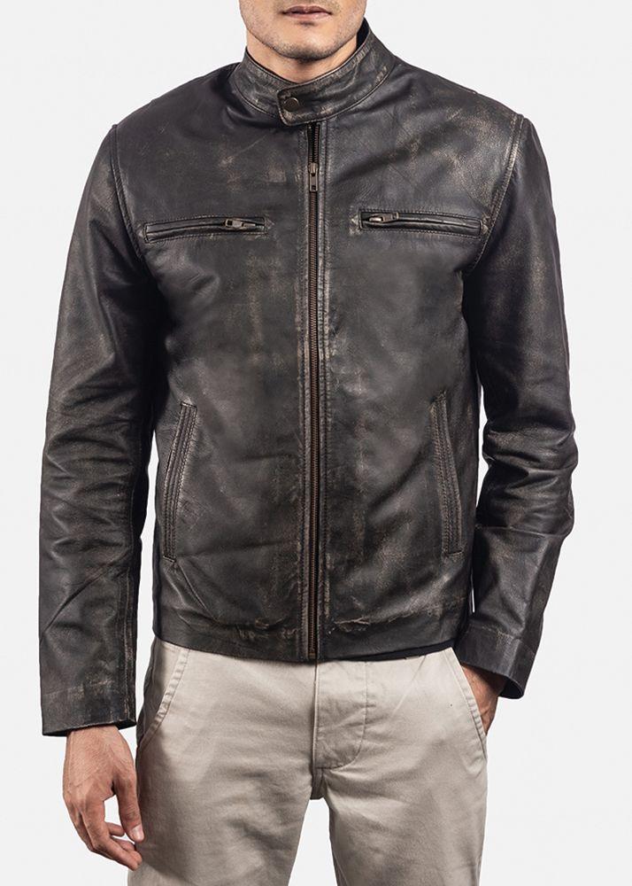 Rustic Brown Leather Biker Jacket Black Leather Jacket Men Leather Jacket Men Leather Jackets Online