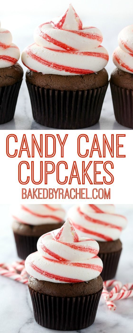 Chocolate candy cane cupcakes with striped peppermint buttercream frosting recipe from @bakedbyrachel #chocolate #cupcake #peppermint #christmas #recipe
