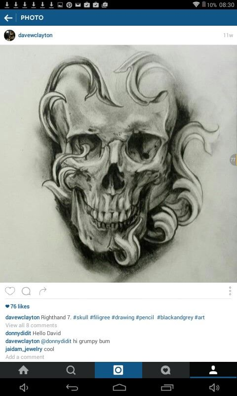 This is one of my favourite drawings, an incredibly detailed and unique drawing of a skull by 'davewclayton'