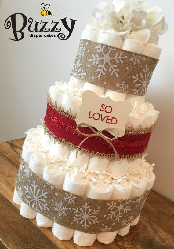 Christmas Diaper Cake for Winter Baby Shower Centerpiece in Snowflake Burlap
