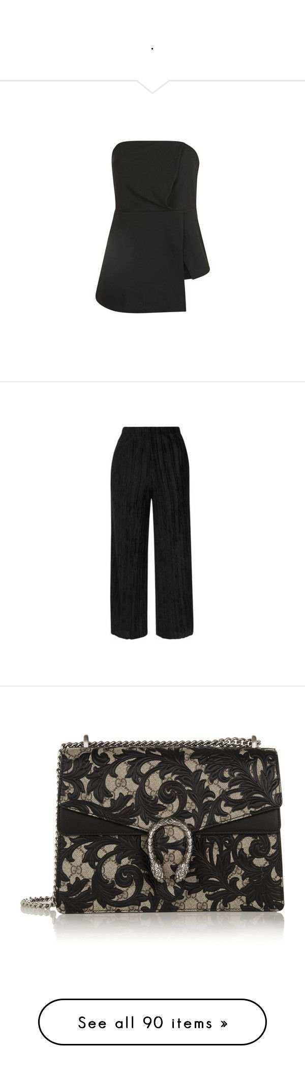 """."" by bappple ❤ liked on Polyvore featuring black, bandeau bikini top, bandeau tops, pants, pleated pants, velvet trousers, velvet pants, pleated trousers, topshop pants and bags"