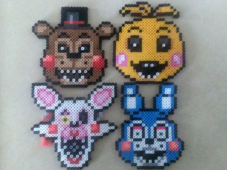 SET OF 5 - Five Nights at Freddy's 2 - Perler Bead Sprites by 8bitBalliet on Etsy https://www.etsy.com/listing/223051991/set-of-5-five-nights-at-freddys-2-perler