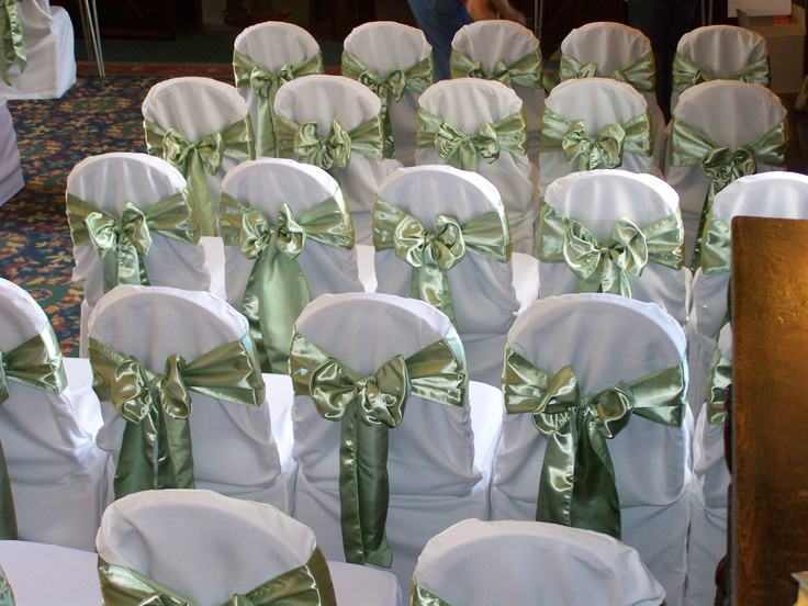 Sage Green Satin Bows on White Chair Covers