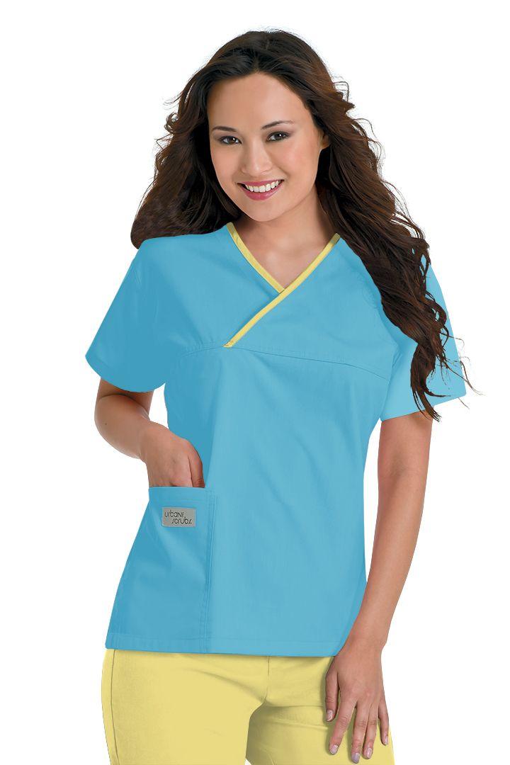 Urbane Essentials: 9501 Classic Crossover Top in Robins Egg with Sunshine trim #urbane #scrubs #medical #fashion #uniforms #hospital #nurse #rn #dental #tech #vet #spring #style #april