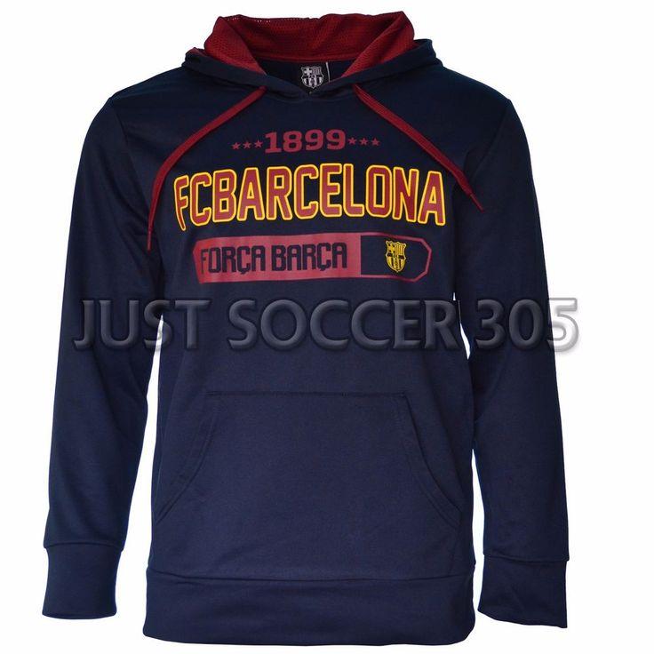 Fc Barcelona Hoodie Jacket fleece Soccer Adult Sizes Soccer Navy #HKY #FCBarcelona