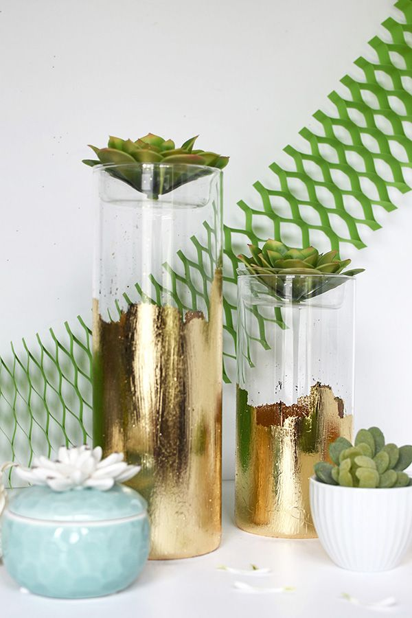 DIY Gold Foil Vase Holding FlowersCraft TutorialsCraft