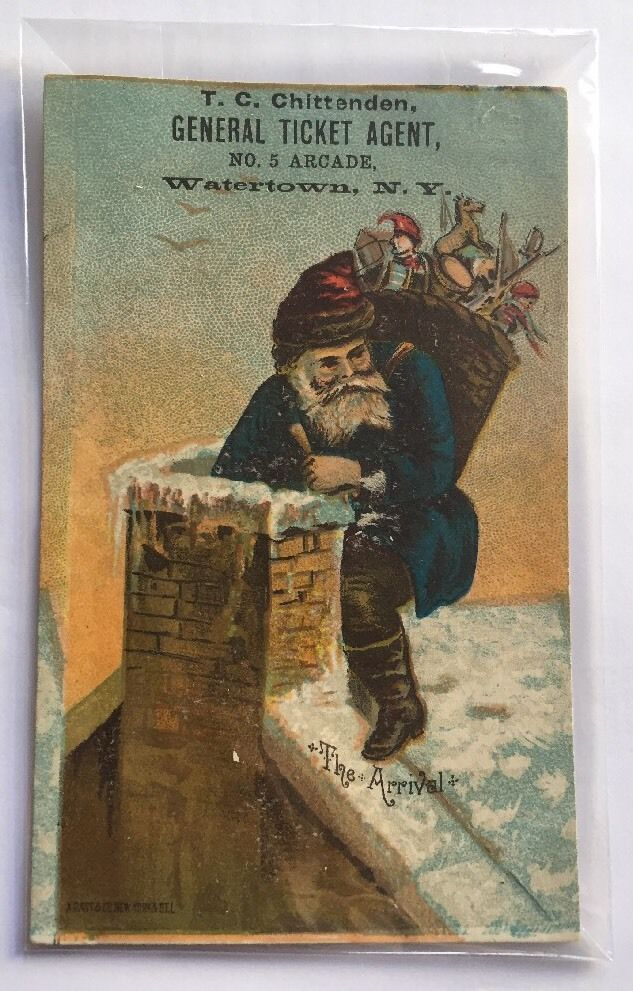 Antique Victorian Trade Card Ticket Agent Business Ad NY Christmas Santa Arrival  | eBay