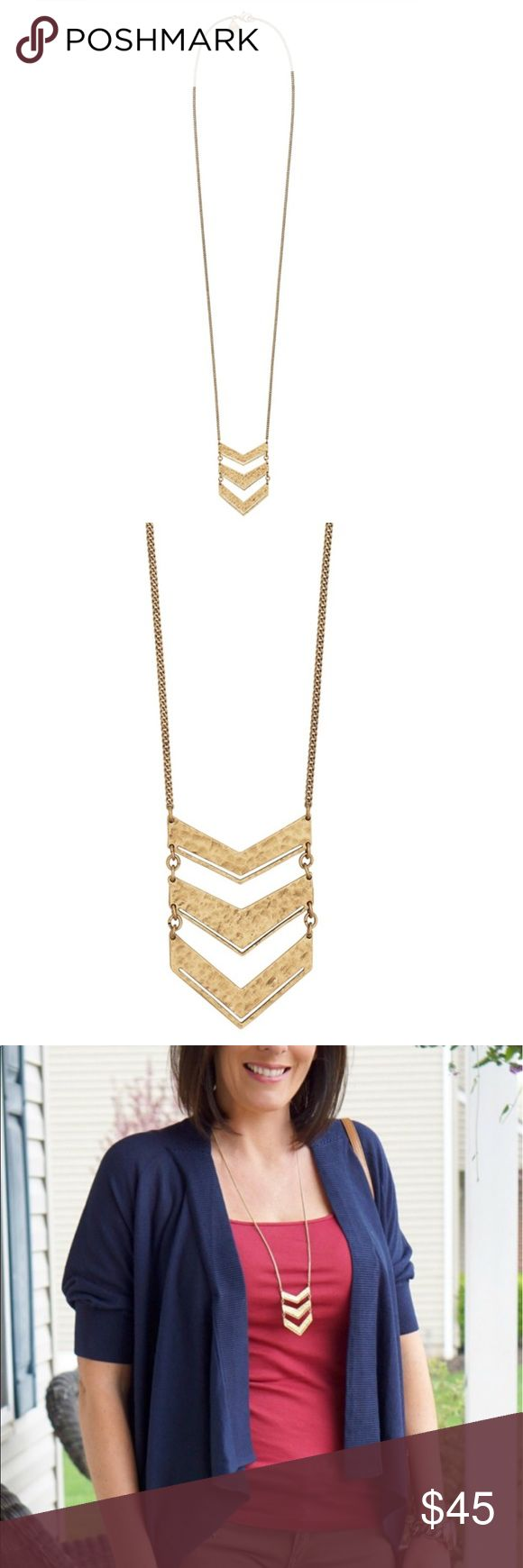 "Silpada Chevron Plunge Necklace Silpada designs hand crafted brass 30"" Chevron necklace Silpada Jewelry Necklaces"