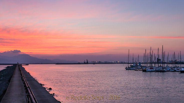 Tramonto dalla Darsena del Porto di Cagliari - Molo Levante nuovo