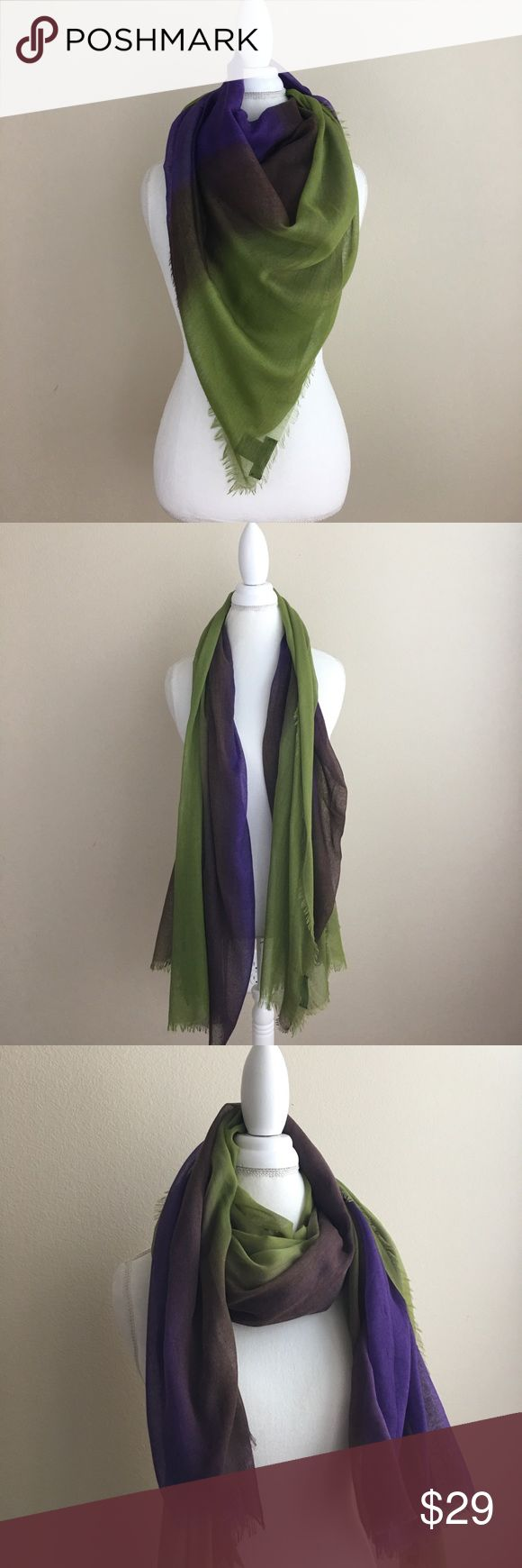"""Urban Outfitters Deena & Ozzy Blanket Scarf Urban Outfitters brand Deena & Ozzy blanket scarf. Purple, green and brown. Frayed edges. 100% polyester. Hand wash. L 63"""" x W 43"""". Measurements are approximate. In excellent condition. Perfect for fall! Urban Outfitters Accessories Scarves & Wraps"""