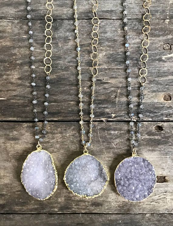 Glittering, natural jasper quartz druzy pendant hangs gracefully on a handmade 32 long labradorite and gold link chain. Listing is for one necklace - you choose which one you would like from the drop down menu at checkout. Pendant: Large freeform druzy. Stones are 100% natural meaning