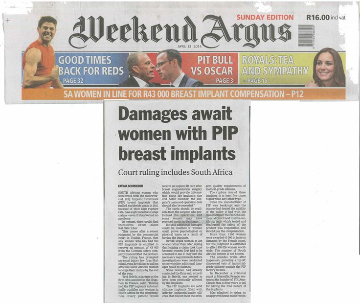 Weekend Argus Article: Damages Await Women with Pip Breast Implants #personalinjurylawyer #personalinjury  Read more on: http://lyonsbriviklaw.com/cases_damagesawaitwomen.html