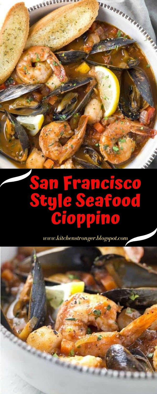 This San Francisco Style Seafood Cioppino Is Loaded With Sparkling Mussels Shrimp And Scallops Simmered In A In 2020 Cooking Seafood Seafood Recipes Fair Food Recipes