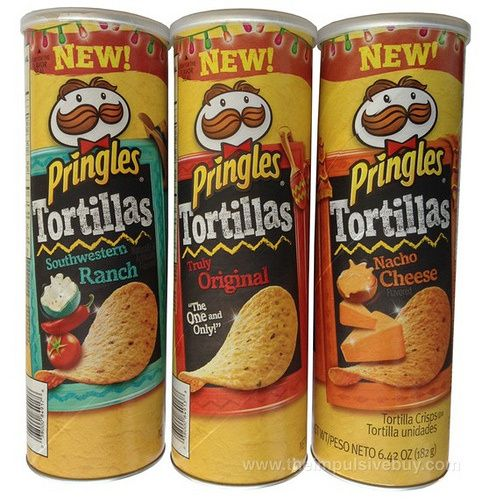 Pringles Tortillas (Truly Original, Nacho Cheese, and Southwestern Ranch) WARNING: Review contains Muppet licking references.