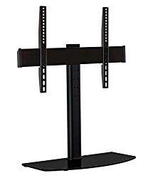 Mount-It! Universal Tabletop TV Stand Mount and AV Media Glass Shelf, TV Mount Bracket Fits 32, 37, 40, 47, 50, 55 Inch TVs, Height Adjustable, VESA 600×400, Black (MI-843)