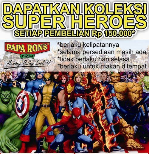 Promo Collectible Paparon Solo edisi November 2014 . koleksi mainan Super Heroes dengan pembelian 150.000 ( Berlaku kelipatan )