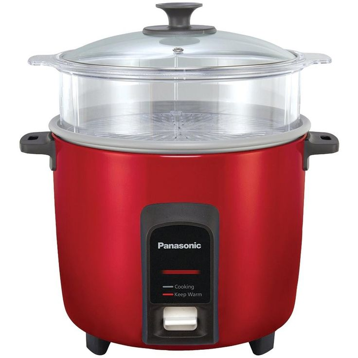 PANASONIC SR-Y22FGJR 12-Cup Automatic Rice Cooker (Red). 12-cup rice capacity;  2-dish separator;  Keep-warm function for up to 5 hours;  Cooks rice & steams vegetables, fish & meats simultaneously ;  Durable, anchor-coated nonstick inner cooking pan eliminates sticking & evenly distributes heat for faster cooking & more uniformly prepared rice;  Quick cleanup with smooth, nonstick inner & outer coatings;  1-touch controls;  Stay-cool handles;  Includes steaming basket, nonstick...