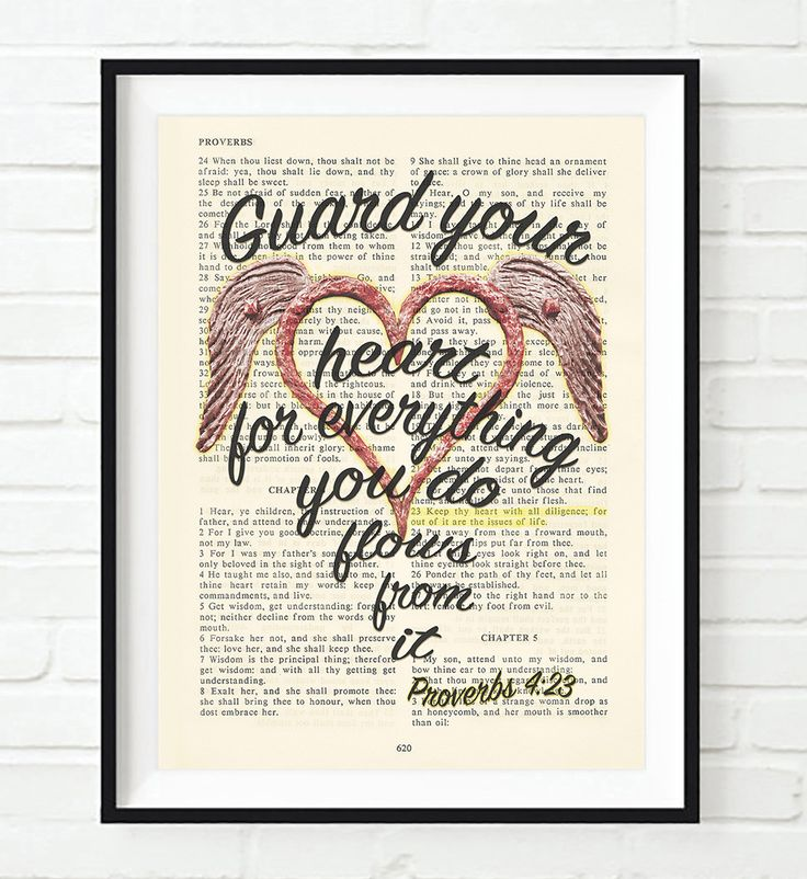 Guard your heart- Proverbs 4:23-Vintage Bible Highlighted Verse Scripture Page- Christian Wall ART PRINT
