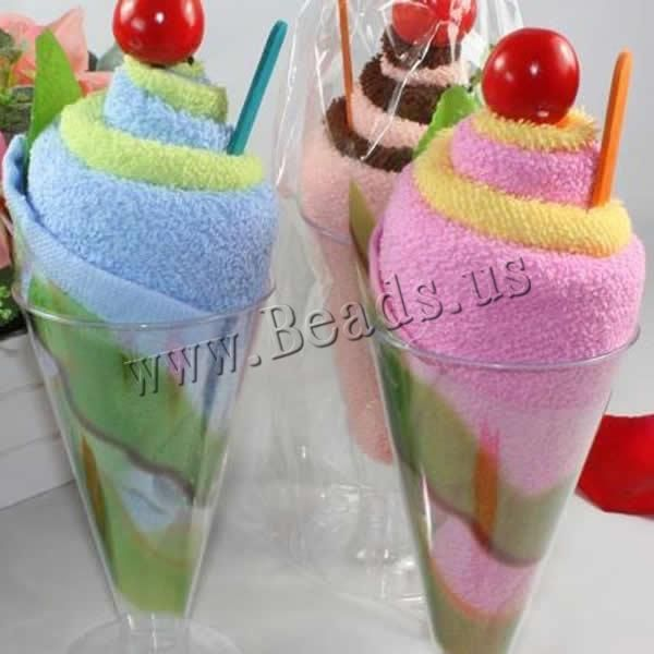 Cotton Towel, with Plastic, Ice Cream, mixed colors, 200x200mm