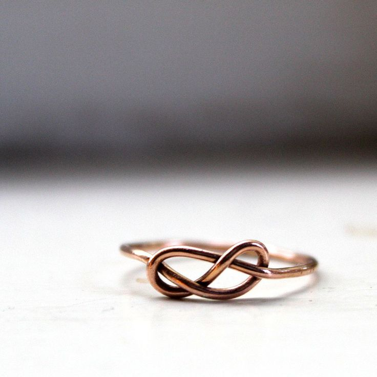 14k Rose Gold Infinity Ring Knot Ring Solid Gold