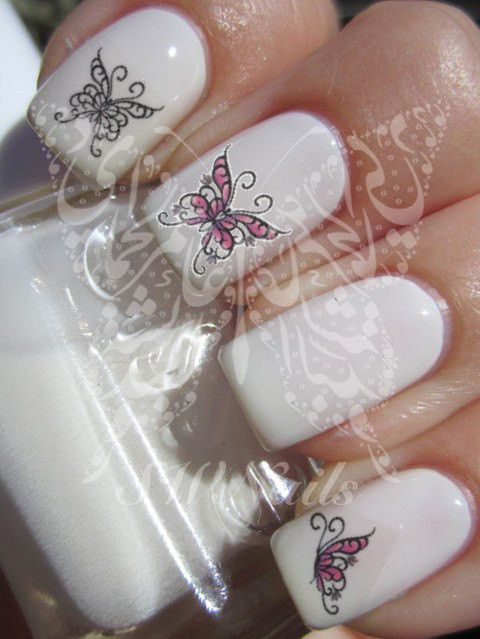 Nail Art Butterflies Nail Water Decals Transfers Wraps