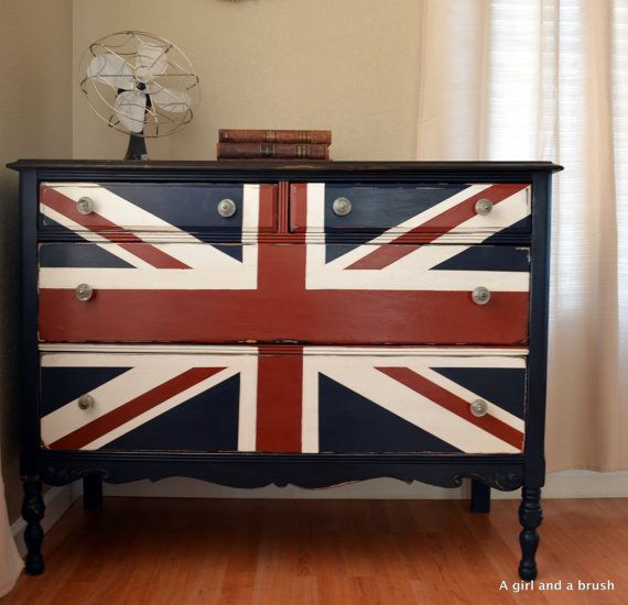 Union Jack Painted / Stained Dresser By EuropeanInspirations