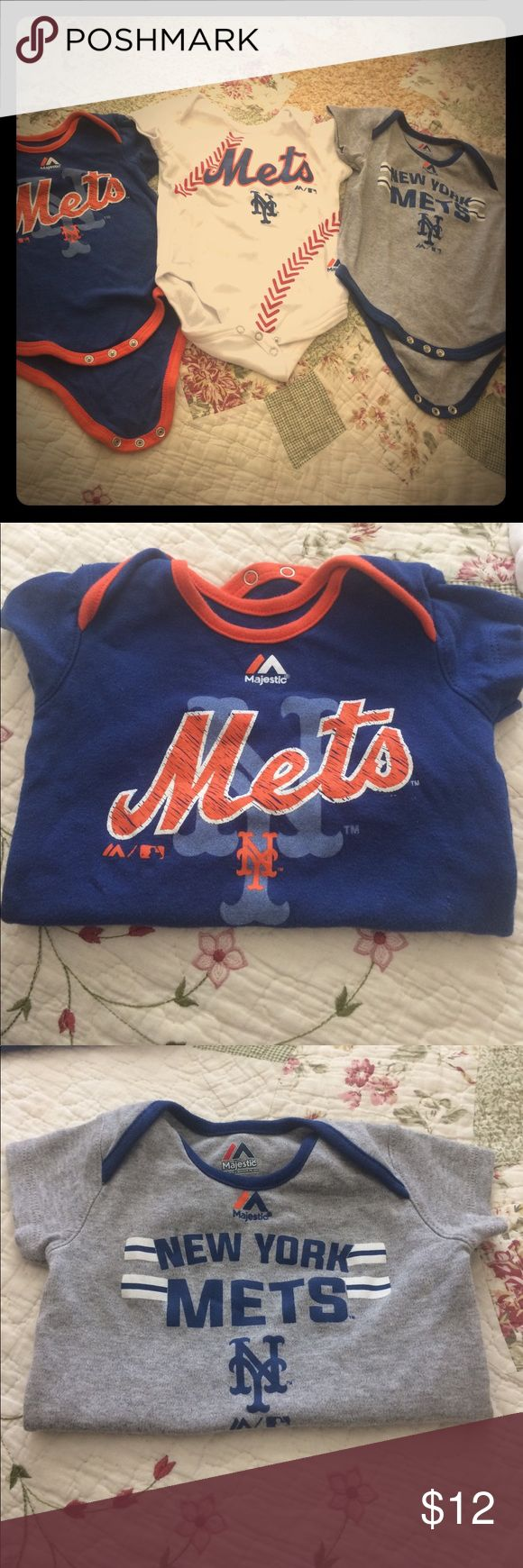 3 Mets onsies! ⚾️ Adorable mets onsies, worn once two in perfect condition...note last pic for small manufacturing damage on that one onsie. Size 6-9 months, perfect for a true lil mets fan! LETS GO METS! Majestic One Pieces Bodysuits