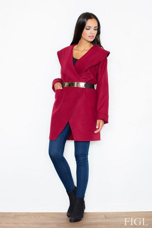 Claret coat with a spectacular cut