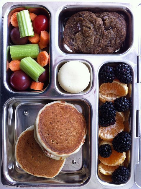 #SchoolLunch via Flickr-looks like 2 pancakes, veggies & fruit, and a hard boiled egg...plus a few cookies, maybe?
