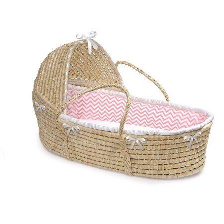 Badger Basket Natural Hooded Moses Basket - Pink Chevron Bedding, Multicolor