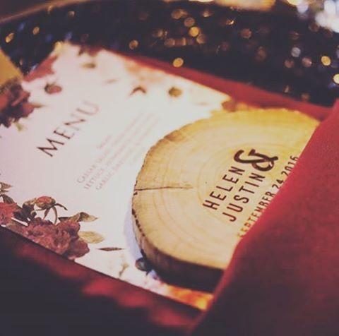 Custom menus and coasters provide the right finishing touches to tie everything together! 📸: @jessrosephoto  #custom #weddingmenu #customwork #fall #ottawawedding #ottawaweddingplanner #woodcraft #ottawa #toronto #montreal #weddinggoals #weddinginspo