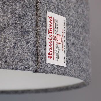 Dark Grey Harris Tweed Lampshade detail photo showing the beautiful wool texture and the famous Orb label.