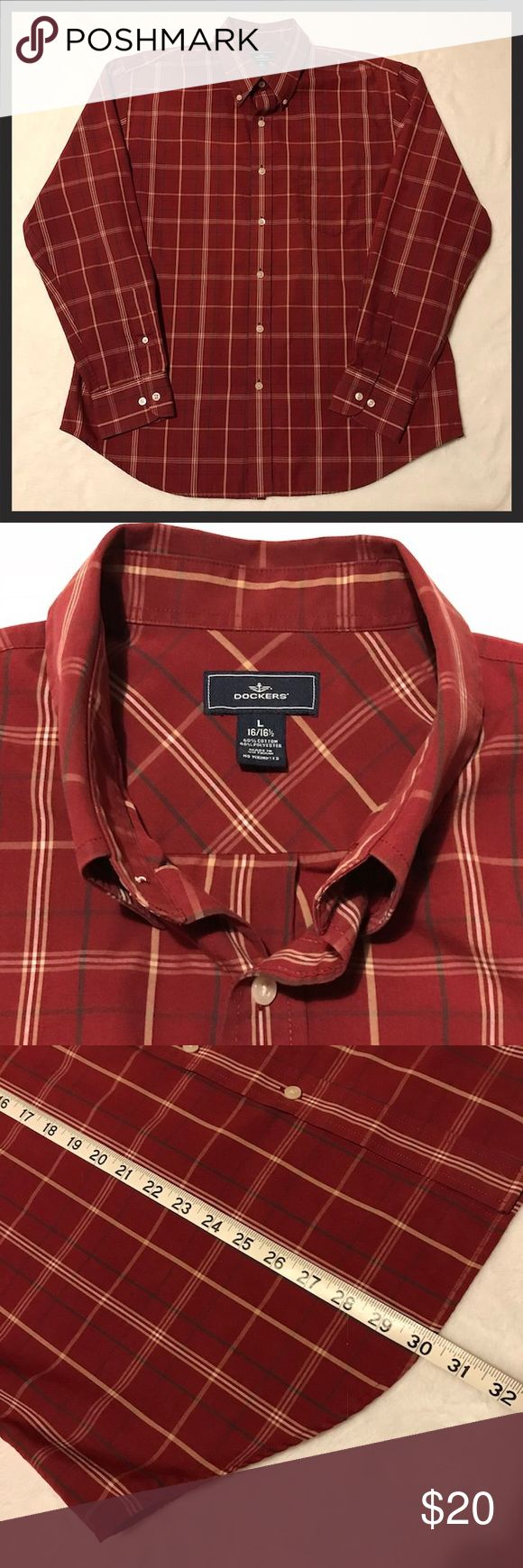 """HPMen's Dockers Long Sleeve Dress Shirt Host PickMen's Dockers long sleeve button down dress shirt. Maroon/burgundy, beige, and green plaid. Size Large. Neck is 16-16 1/2, top of shoulder to longest part of hem is 30"""", sleeve length is approximately 25 1/2"""". Armpit to armpit is 25"""". Excellent condition! Dockers Shirts Dress Shirts"""
