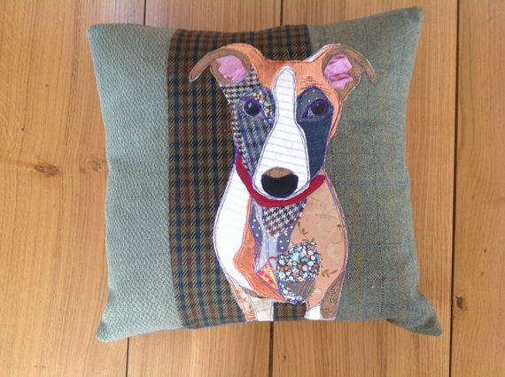 Soft green background, handmade, Dog Cushion.