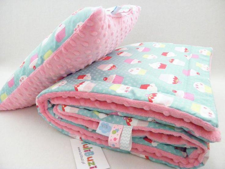 minky kocyk muffiny, muffinki, babeczki, róż, turkus, minky baby blanket muffins pink
