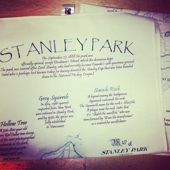 Handprinted Stanley Park tea towels by TheHivePrinting on Etsy, $20.00