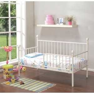 Amazon.com: Kings Brand White Finish Metal Toddler Day Bed Frame With Rails: Baby