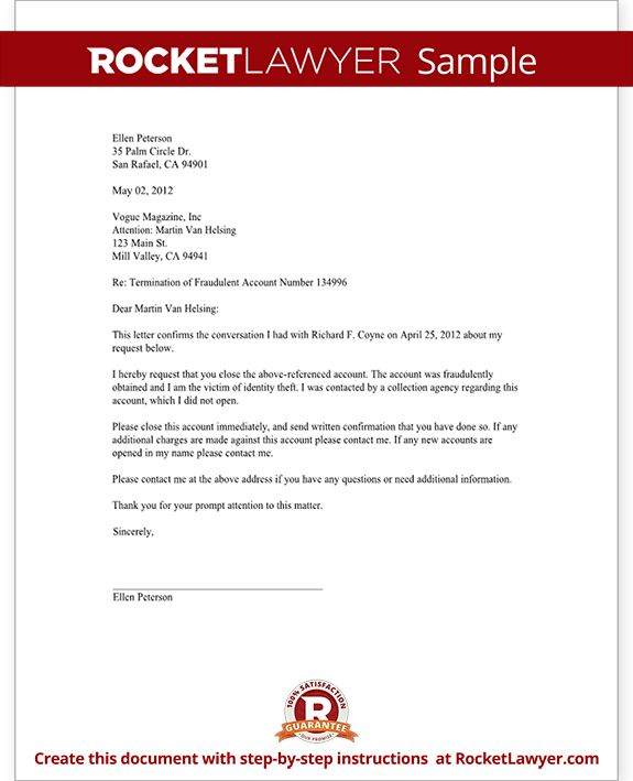 Request Close Unauthorized Account Letter Template With Sample For