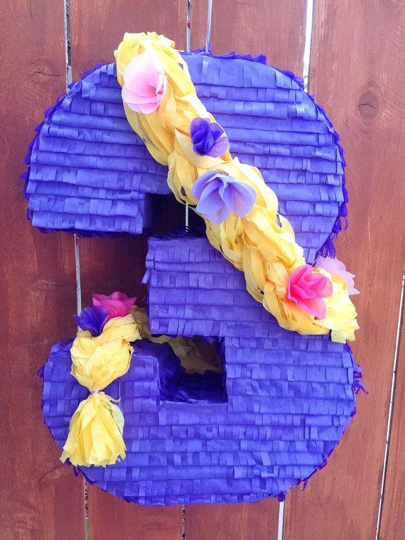 Número Piñata temática 3 Rapunzel Rapunzel por LetsPartyByKarla