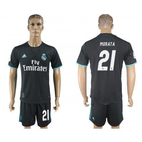 2017-2018 Fußball Trikot Real Madrid 21 Morata Away Adidas Schwarz Fussball Trikots