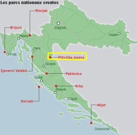 parc national croatie, carte