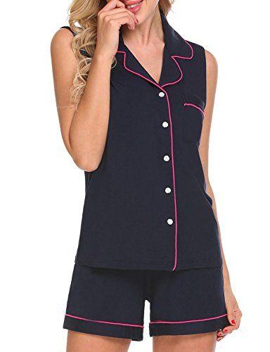 85af939e807083 jingjing1 Womens Sleeveless Button Down 2 Piece Sleepwear Shirt and Shorts  Pajama Set