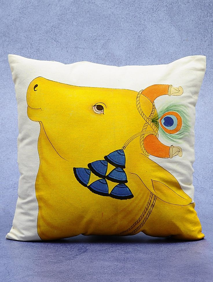 Buy Yellow Ivory Cotton Hand Painted Dhenu Cushion Cover 16in x Home Textiles Cushions Kamdhenu Covers Trays Decorative Boxes and Mythological Paintings Online at Jaypore.com